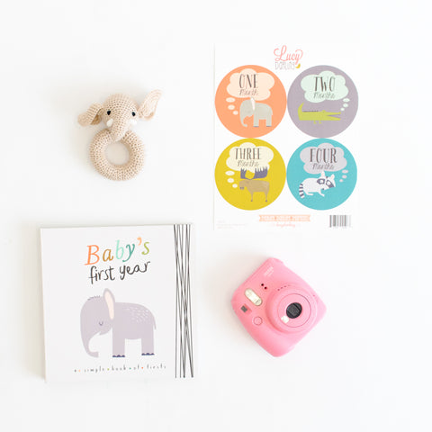 Baby memory book and milestone stickers
