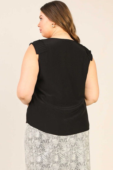 Sleeveless Pin Tucked Shoulder Blouse - Plus Size