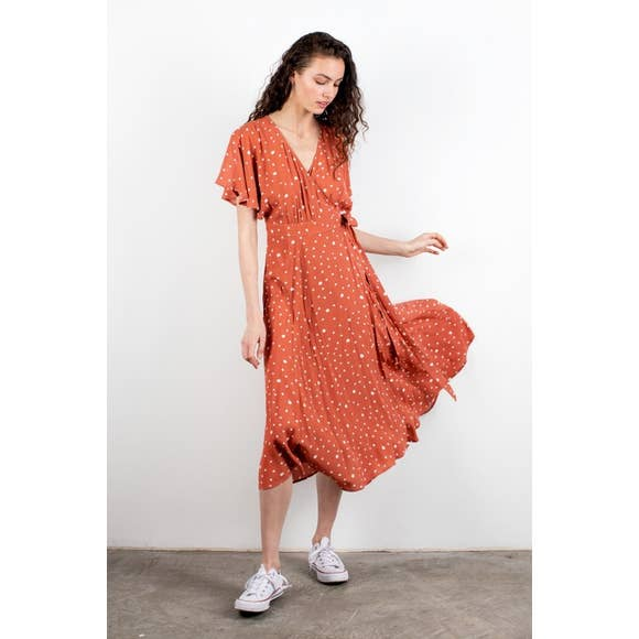 Rust Midi Wrap Dress