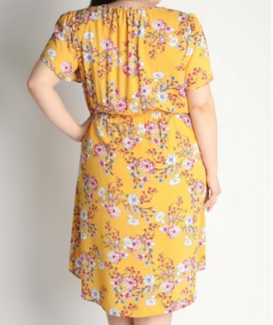 Floral Ruffle Dress in Mustard - Plus Size