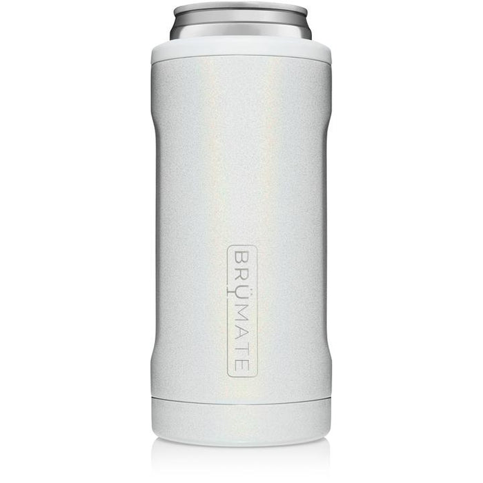 12oz Slim Can Cooler - Glitter White