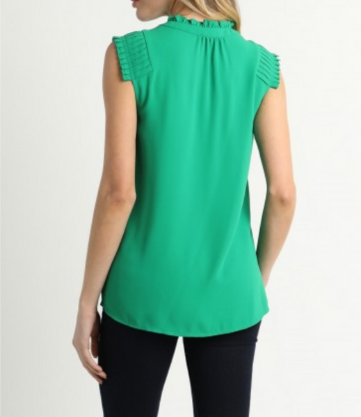 Sleeveless Pin Tucked Shoulder Blouse with Ruffle Neck Top