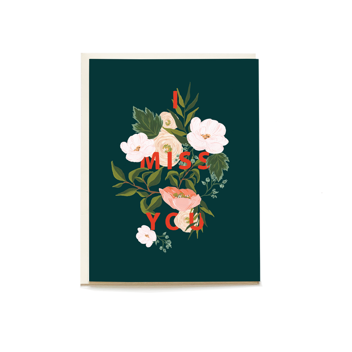 Emerald Blooms Miss You Card