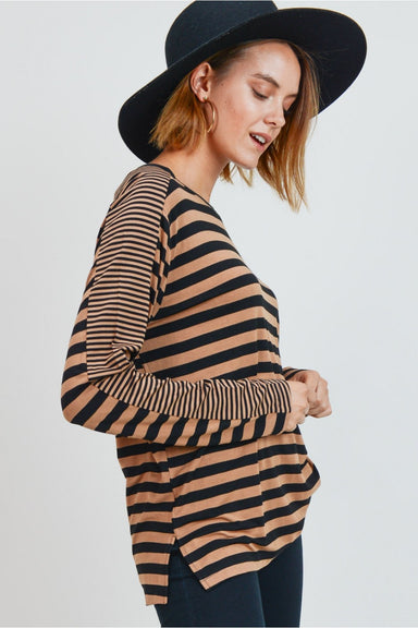 Round Neck Multi Stripe Top In Mustard