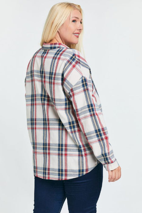 April Button Up - Navy - Plus Size