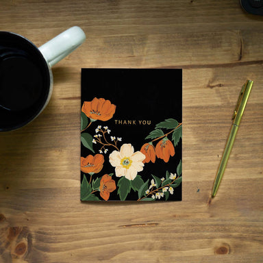 Autumn Poppy Thank You Card