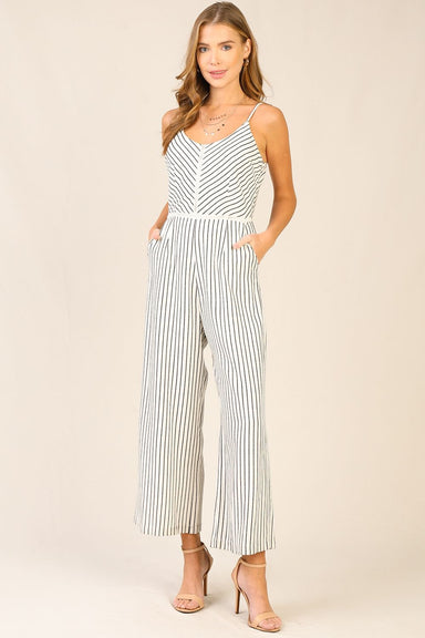 Striped Jumpsuit with Twisted Back
