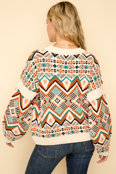 Multi Color Crew Neck Motif Sweater