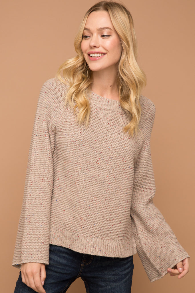 Taupe Round Neck Bell Sleeve Sweater