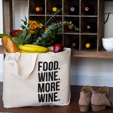 Food Wine More Wine Tote Bag