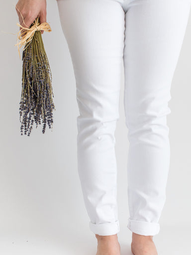 White Mid-Rise Skinny Ankle Jean with Double Rolled Cuff