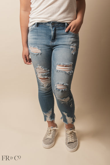 Mid-Rise Heavy Destroyed Ankle Cutout Skinny Jean