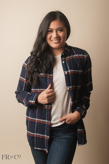 Merlot Flannel - Navy