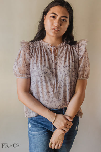 Taupe Blouse With Mocked Waist