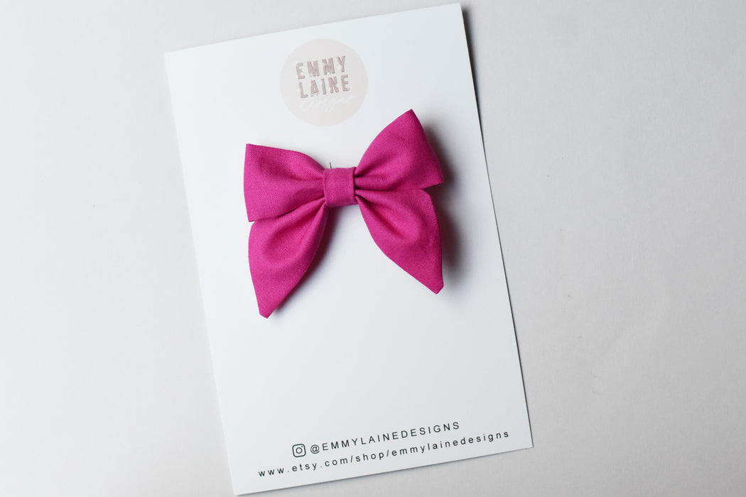 Raspberry Sorbet Mini Sailor Bow with Clip