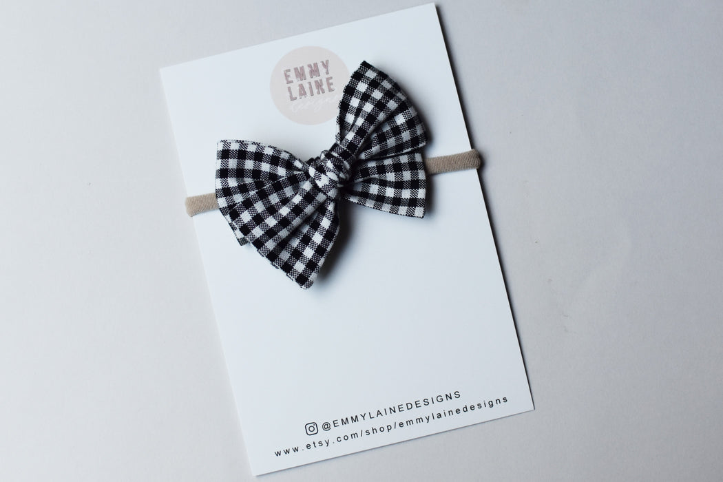 Black and White Mini Gingham Mini Pinwheel Bow with Headband