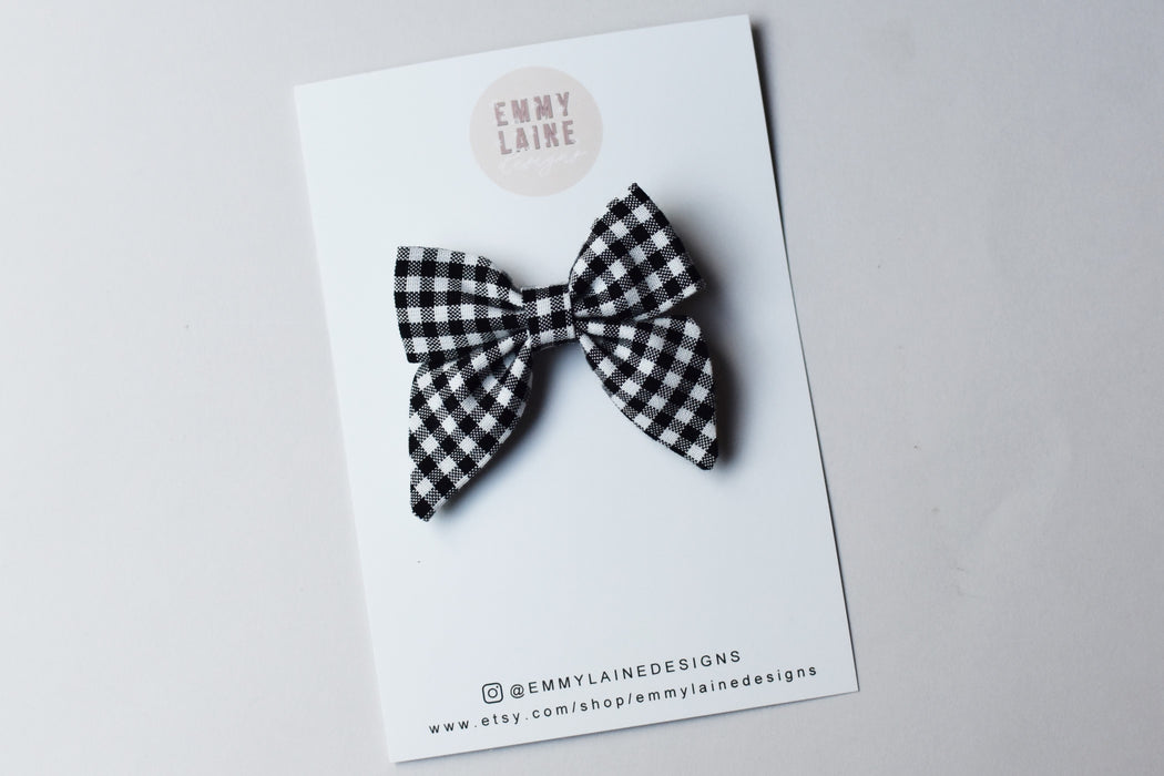 Black and White Mini Gingham Mini Sailor Bow with Clip