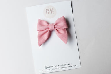 Blush Mini Sailor Bow with Clip