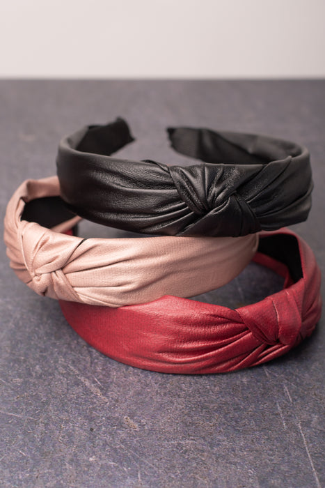 Faux Leather Knotted Headband