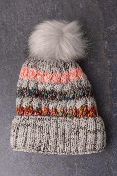 Striped Hat with Faux Fur Pom Detail