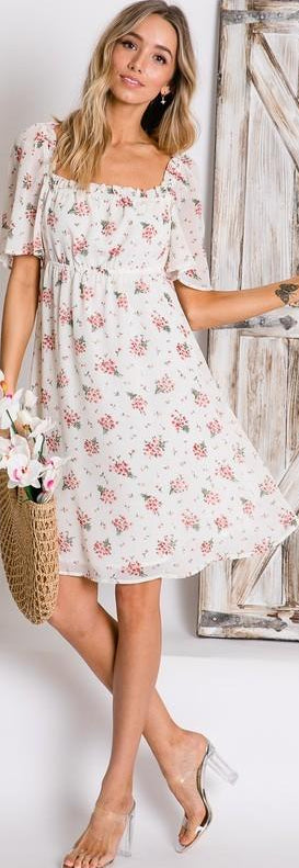 Off White Floral Print Peasant Dress