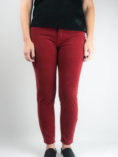Mid Rise Corduroy Skinny in Syrah