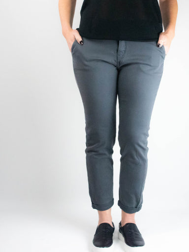 Mid Rise Trouser Pant With Rolled Cuff Hem