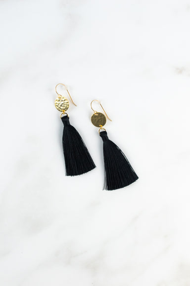 Hammered Gold Disc Tassel Earrring