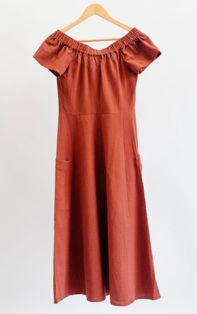 Brick Red Button Down Off Shoulder Dress