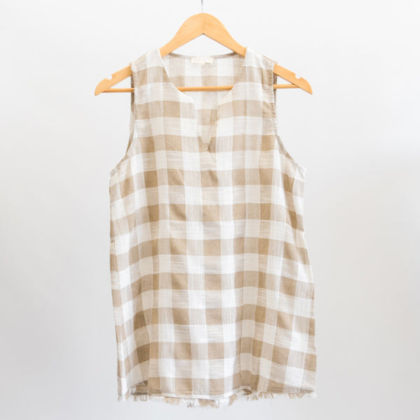 Taupe Gingham Sleeveless Blouse with Frayed Hem and Split Neck