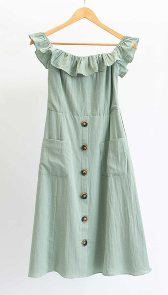 Sage Off The Shoulder Midi Dress with Button Detail
