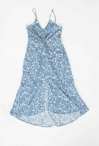 Light Blue Floral Printed Dress with Twisted Front
