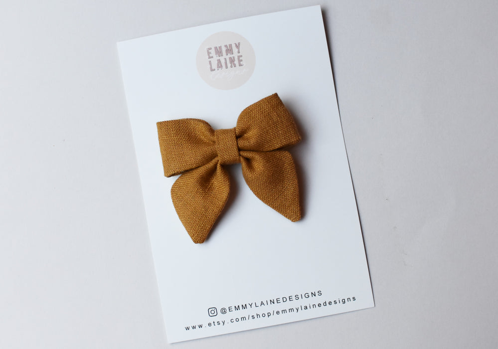 Yellow Linen Mini Sailor Bow with Clip
