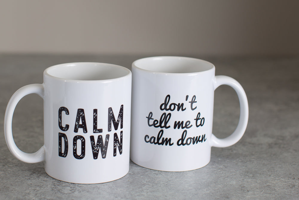 Calm Down Couples Coffee Mugs