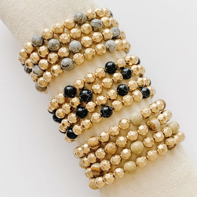 Gold Marbled Round Bead Stretch Accent Bracelet