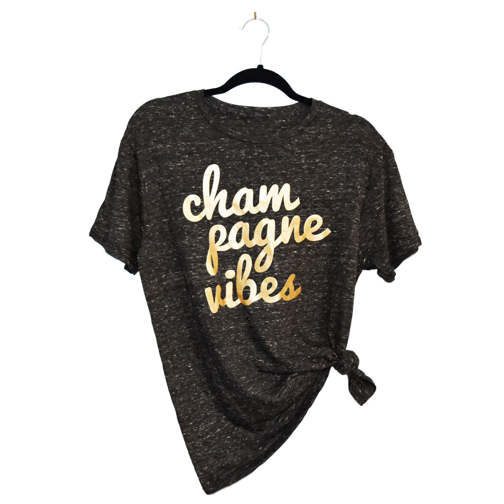 Champagne Vibes Tee - Heather Black and Gold Metallic
