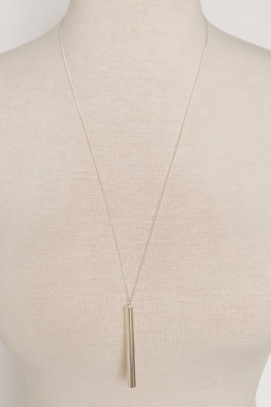 Long Silver Necklace with Skinny Cylinder Pendant