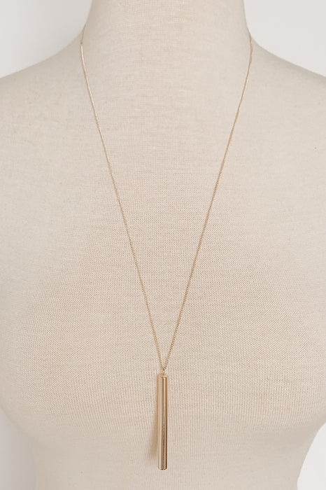 Long Gold Necklace with Skinny Cylinder Pendant