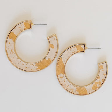 Marbled Leather Hoop Earrings in Natural