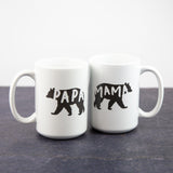 Dark Grey Papa Bear and Mama Bear Set | 15oz Coffee Mugs