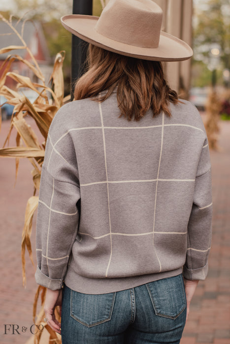 Frances Grid Pattern Sweater - Grey