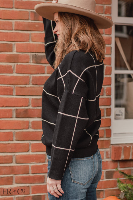 Frances Grid Pattern Sweater - Black