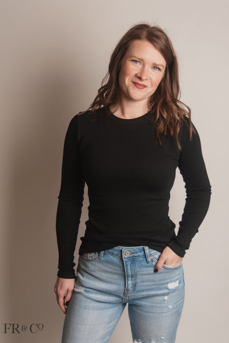 Liz Long Sleeve Top - Black