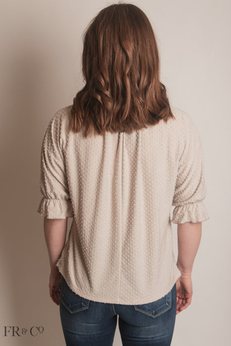 Swiss Dot Blouse With Shirring at Neck