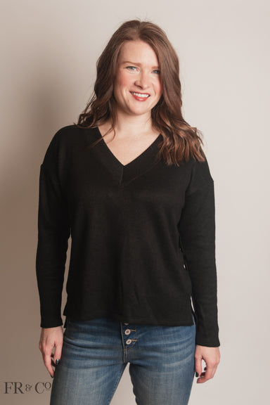 Solid V-Neck Boxy Sweater