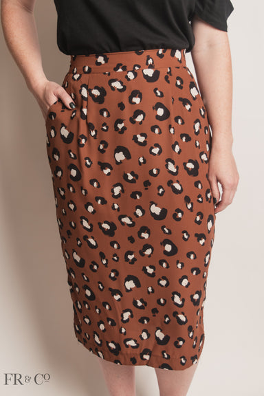 Print Midi Skirt With Side Slit