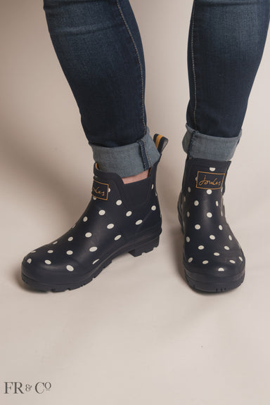 French Navy Spot Printed Short Rain Boot