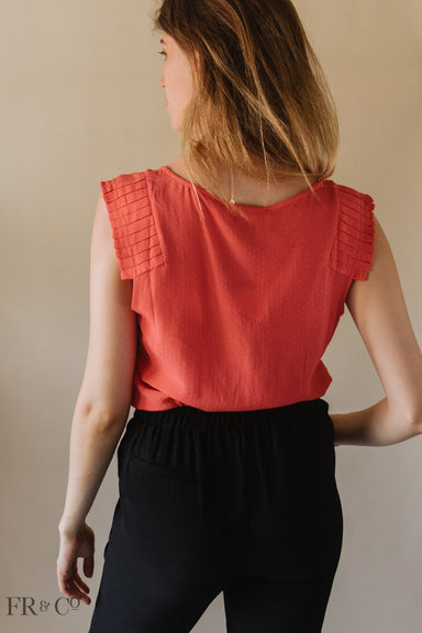 Sleeveless Pin Tucked Shoulder Blouse
