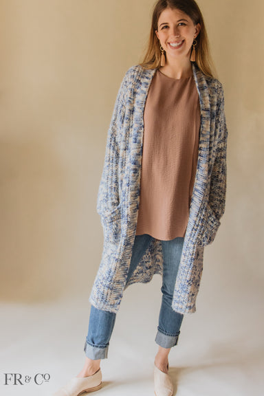 Oversize Multi-Blue Cardigan