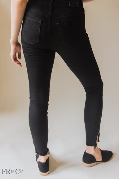 High Rise Side Zipper Ankle Skinny Jean